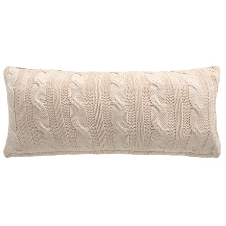 """Made in India Navy Stripe Throw Pillow - 14x32"""" in White/Navy"""