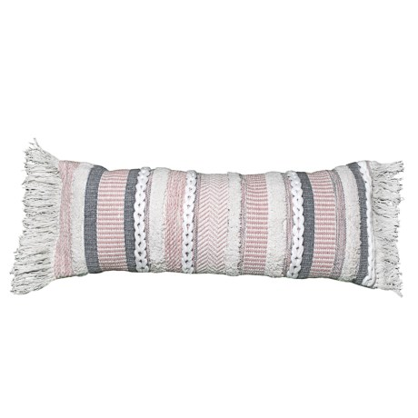"""Made in India QueenWest 3D-Woven Throw Pillow - 14x34"""" in Ivory/Blush/Grey"""