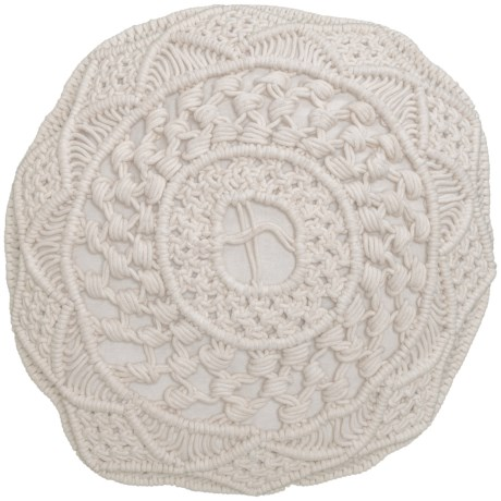 """Made in India QueenWest Round Macrame Throw Pillow - 20x20"""" in Ivory"""