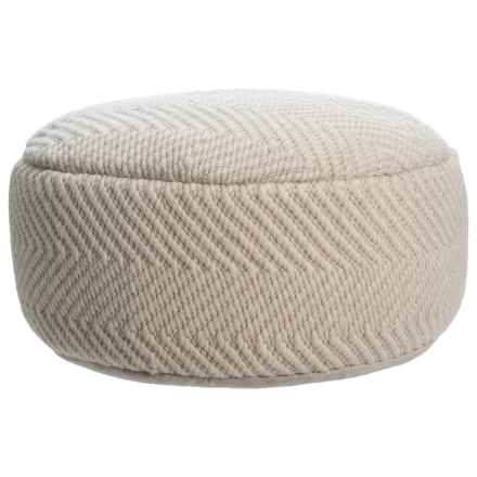 """Made in India Wool Woven Chevron Texture Pouf - 24x10"""" in Natural - Closeouts"""