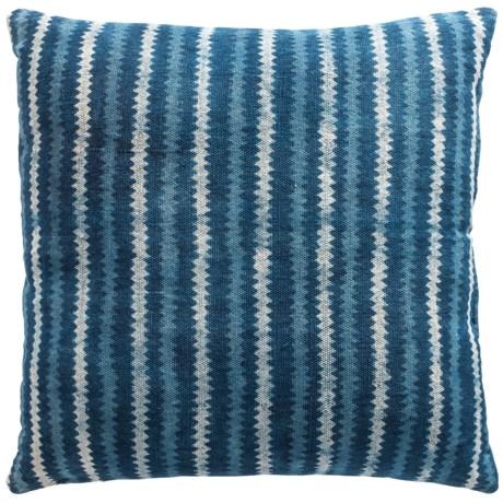 "Made in India Woven Stripe Throw Pillow - 30x30"" in Indigo"