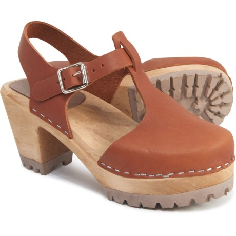 Made in Sweden Madeline Clogs - Leather (For Women) - LUGGAGE (9 )