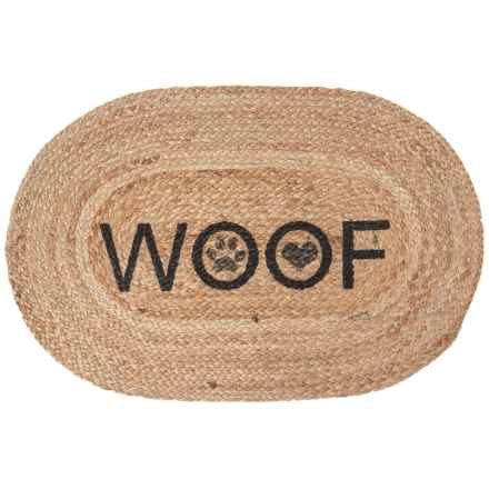 "Madison ""Woof"" Printed Jute Oval Pet Mat - 16x24"" in Black - Closeouts"