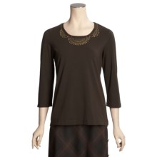 Madison Hill Cotton Beaded T-Shirt - 3/4 Sleeve (For Women) in Walnut - Closeouts