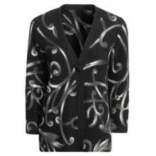 Madison Hill Cotton Cardigan Sweater - Pull-Through Swirls, 3/4 Sleeve (For Women) in Multi - Closeouts