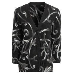 Madison Hill Cotton Cardigan Sweater - Pull-Through Swirls, 3/4 Sleeve (For Women) in Multi