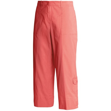 Madison Hill Cotton Crop Pants - Stretch Canvas (For Women) in Coral