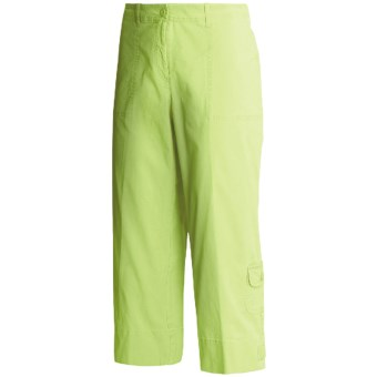 Madison Hill Cotton Crop Pants - Stretch Canvas (For Women) in Key Lime