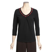 Madison Hill Cotton Stretch Beaded T-Shirt - 3/4 Sleeve (For Women) in Black - Closeouts