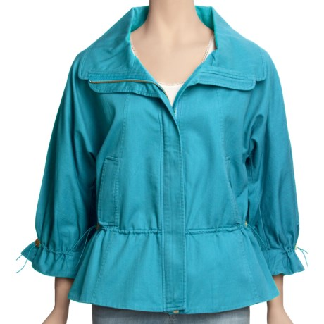 Madison Hill Cotton-TENCEL® Jacket - Zip Front, 3/4 Sleeve (For Women) in Aqua