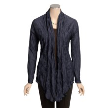 Madison Hill Crinkle Jacket - Silk-Cotton, Open Front (For Women) in Navy - Closeouts