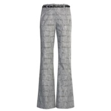 Madison Hill Dobby Glen Pants - Cotton-Linen (For Women) in Black/Soft White - Closeouts
