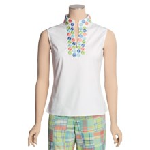 Madison Hill Embroidered Cotton Shirt - Sleeveless (For Women) in White - Closeouts