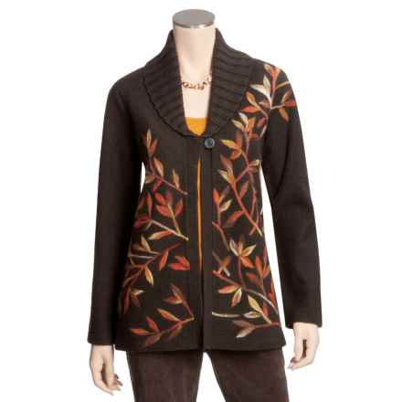 Madison Hill Embroidered Jacket - Boiled Wool (For Women) in Brown - Closeouts