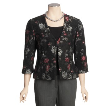 Madison Hill Floral Boucle Jacket - 3/4 Sleeve (For Women) in Multi