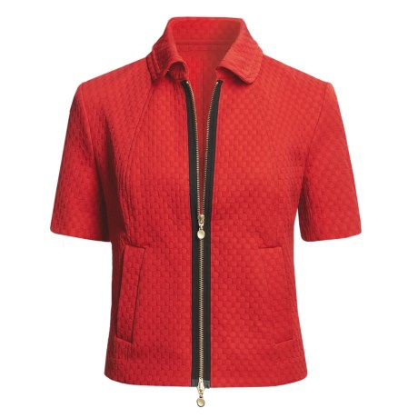 Madison Hill Jacquard Jacket - Zip Front, Short Sleeve (For Women) in Poppy