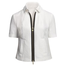 Madison Hill Jacquard Jacket - Zip Front, Short Sleeve (For Women) in White - Closeouts