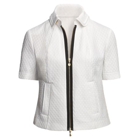Madison Hill Jacquard Jacket - Zip Front, Short Sleeve (For Women) in White