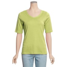 Madison Hill Pima Cotton Knit Shirt - V-Neck, Short Sleeve (For Women) in Key Lime - Closeouts