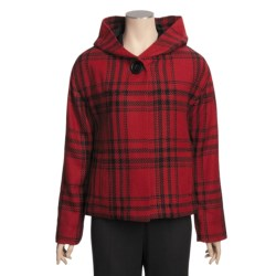 Madison Hill Plaid Jacket - Hooded (For Women) in Berry Red