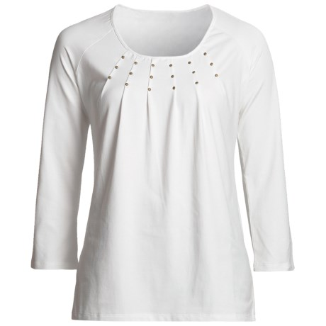 Madison Hill Pleated Studded Shirt - Cotton, 3/4 Sleeve (For Women) in Soft White