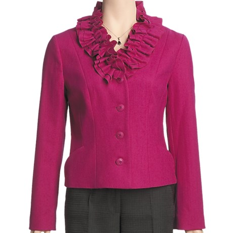 Madison Hill Ruffle Collar Jacket - Boiled Wool (For Women) in Cerise