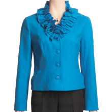 Madison Hill Ruffle Collar Jacket - Boiled Wool (For Women) in Peacock - Closeouts