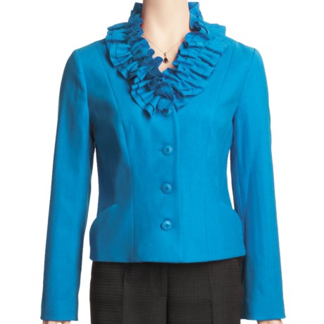 Madison Hill Ruffle Collar Jacket - Boiled Wool (For Women) in Peacock