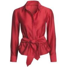 Madison Hill Silky Waist-Tie Blouse - TENCEL®, Long Sleeve (For Women) in Red - Closeouts