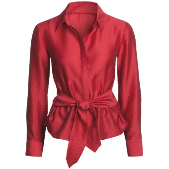 Madison Hill Silky Waist-Tie Blouse - TENCEL®, Long Sleeve (For Women) in Red