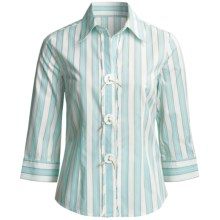 Madison Hill Striped Shirt - Cotton-Rich, 3/4 Sleeve (For Women) in Multi - Closeouts