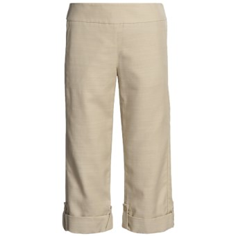 Madison Hill Textured Crop Pants - TENCEL®-Cotton, Roll Leg (For Women) in Stone