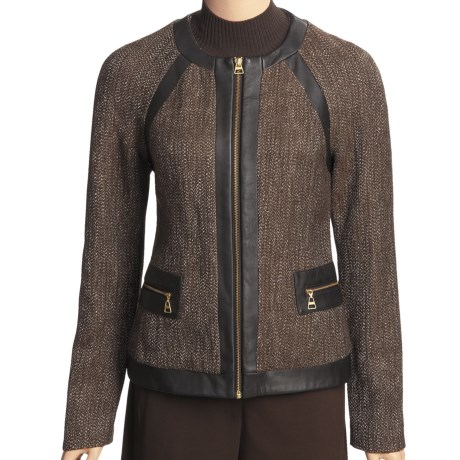 Madison Hill Tweed Jacket - Faux-Leather Trim, Zip Front (For Women) in Multi