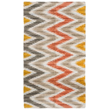 Madison Home Chevron Printed Warm Chindi Area Rug - 5x8' in Warm