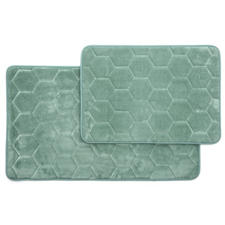 Madison Home Honey Memory-Foam Bath Rugs - Set of 2 in Mineral Blue
