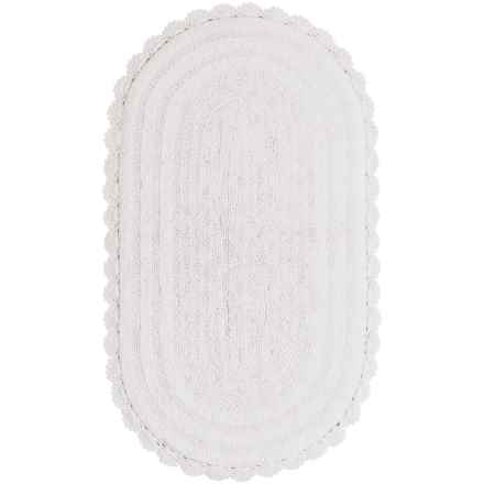 "Madison Home Notting Hill Crochet Oval Bath Rug - 24x40"" in White - Closeouts"