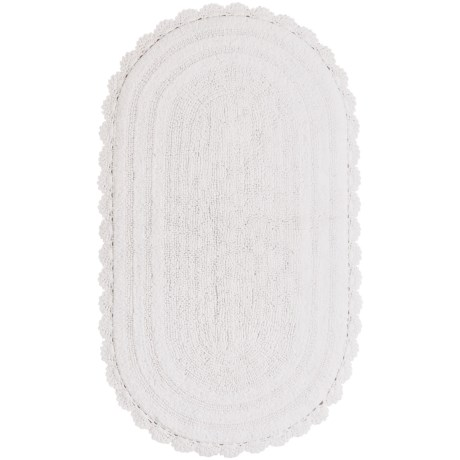 """Madison Home Notting Hill Crochet Oval Bath Rug - 27x45"""" in White"""