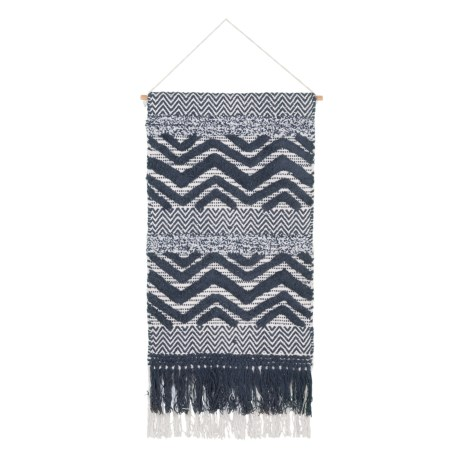 """Madison Multi-Textured Cotton Wall Hanging - 18x31"""" in Navy"""