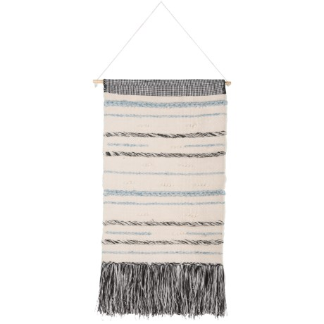 "Madison Wool Wall Hanging - 24x36"" in Black/Ivory"