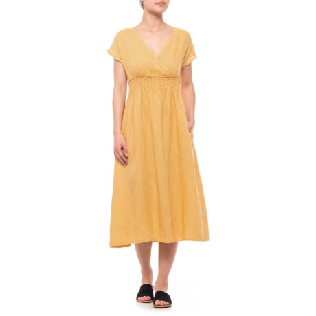 35e4c22a95 Magari Made in Italy Yellow V-Neck Midi Dress (For Women) - Save 30%