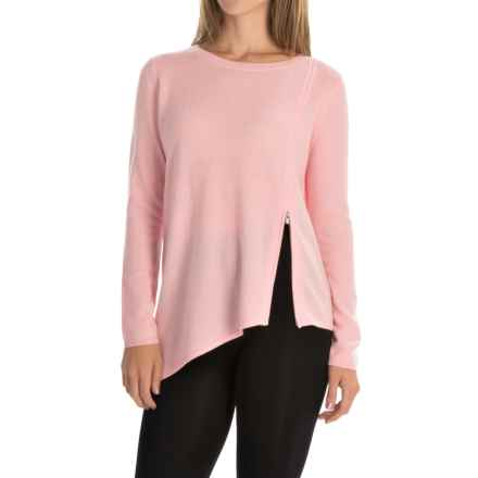 Magaschoni Asymmetrical Front Zip Sweater - Cashmere (For Women) in Frosted Rose - Closeouts