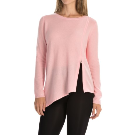 Magaschoni Asymmetrical Front Zip Sweater - Cashmere (For Women) in Frosted Rose