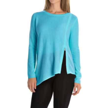 Magaschoni Asymmetrical Front Zip Sweater - Cashmere (For Women) in Parrot - Closeouts