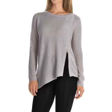 Magaschoni Asymmetrical Front Zip Sweater - Cashmere (For Women) in Stone - Closeouts