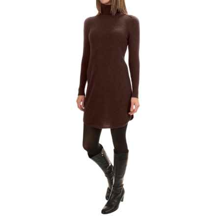 Magaschoni Cashmere Turtleneck Dress - Shirttail Hem, Long Sleeve (For Women) in Molasses - Closeouts