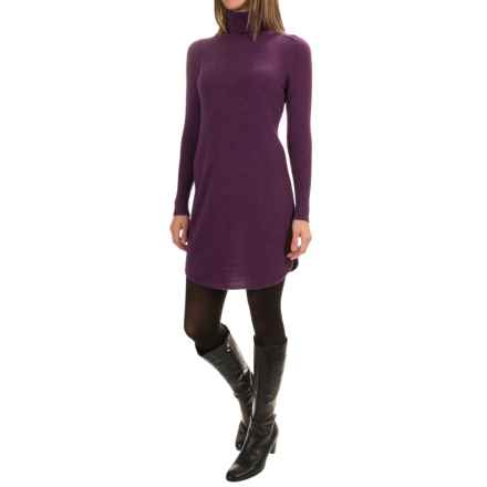 Magaschoni Cashmere Turtleneck Dress - Shirttail Hem, Long Sleeve (For Women) in Mulberry Mouline - Closeouts