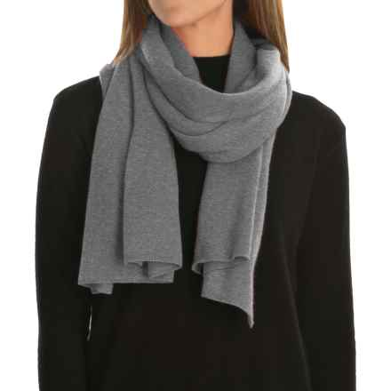 Magaschoni Classic Jersey-Knit Cashmere Scarf (For Women) in Smoke Mouline - Closeouts