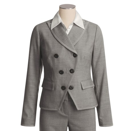 Magaschoni Collection Wool Crepe Jacket - Dove Grey Melange (For Women) in Grey Dove Melange