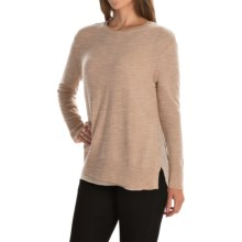 Magaschoni Crew Neck Cashmere Sweater - Side Slits, Silk Lining (For Women) in Chestnut Mouline - Closeouts