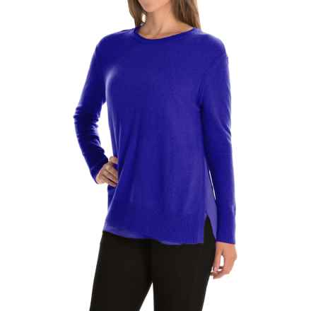 Magaschoni Crew Neck Cashmere Sweater - Side Slits, Silk Lining (For Women) in Moma - Closeouts